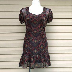 Mimi Chica Flared Ruffle Boho Print Sheath Dress M